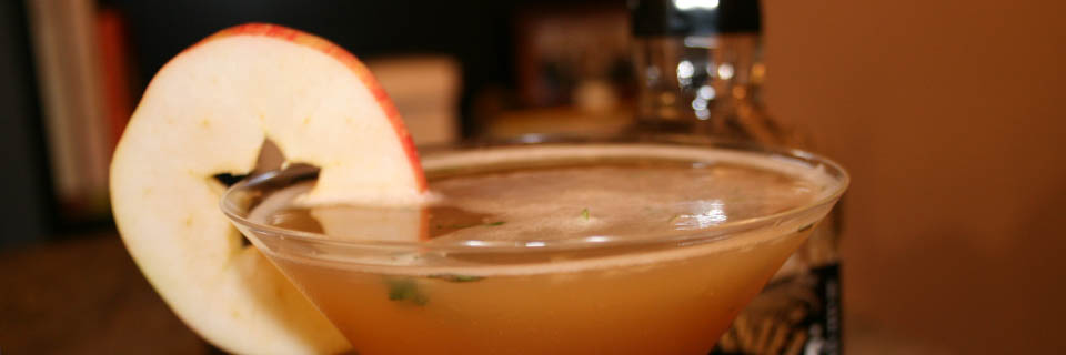 apple thyme bourbon martini header
