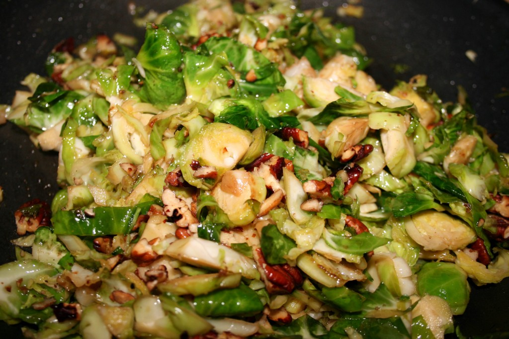 caramelized brussels sprouts with toasted pecans