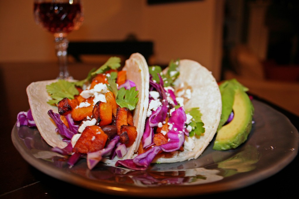chipotle black bean  and sweet potato tacos
