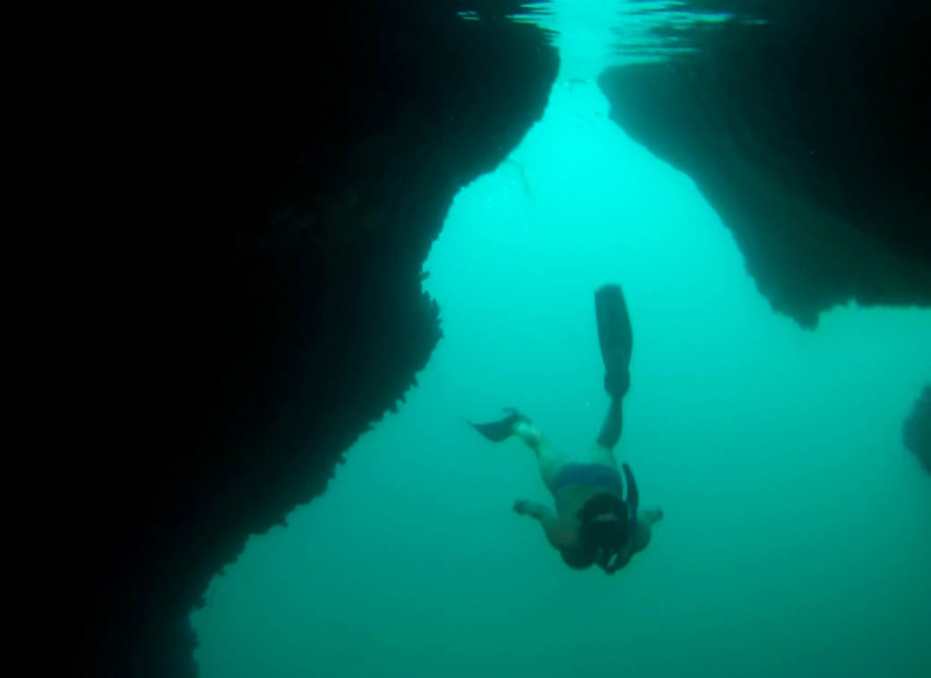 Autumn swimming through the cave entrance