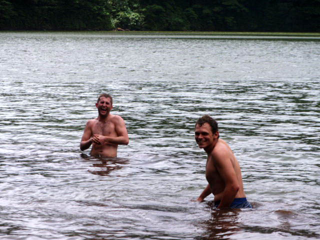Evan and Anton sink in the mud at Volcan Maderas lake